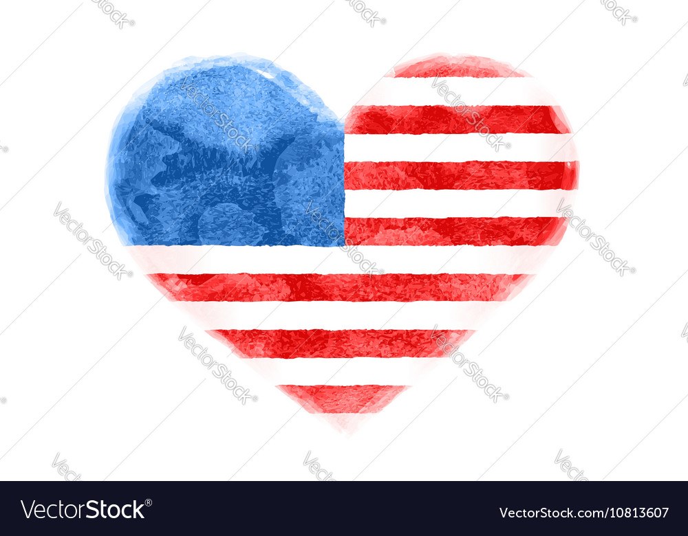 Poster of watercolor heart shape United State