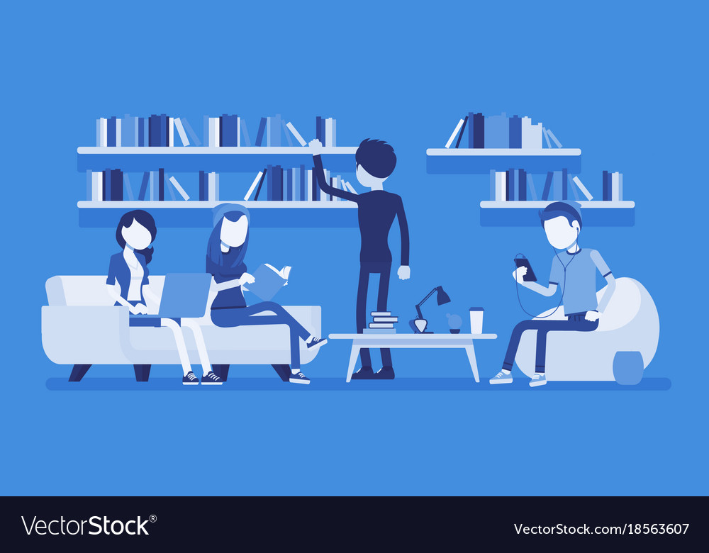 Public library people vector image