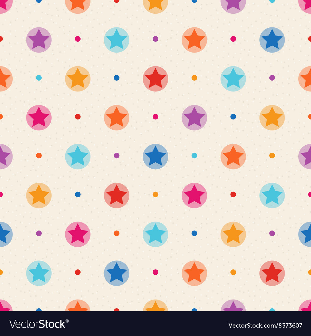Retro seamless pattern Color stars and dots