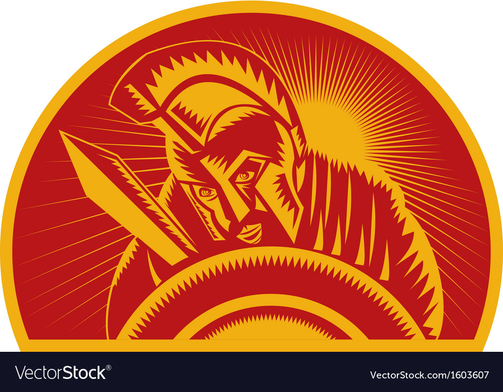 Roman soldier or gladiator with sword and shield vector image