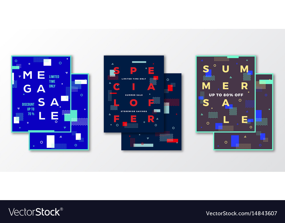 Sale posters cards or flyer template set