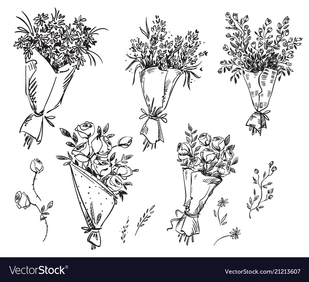Set of hand drawn bouquets sketch