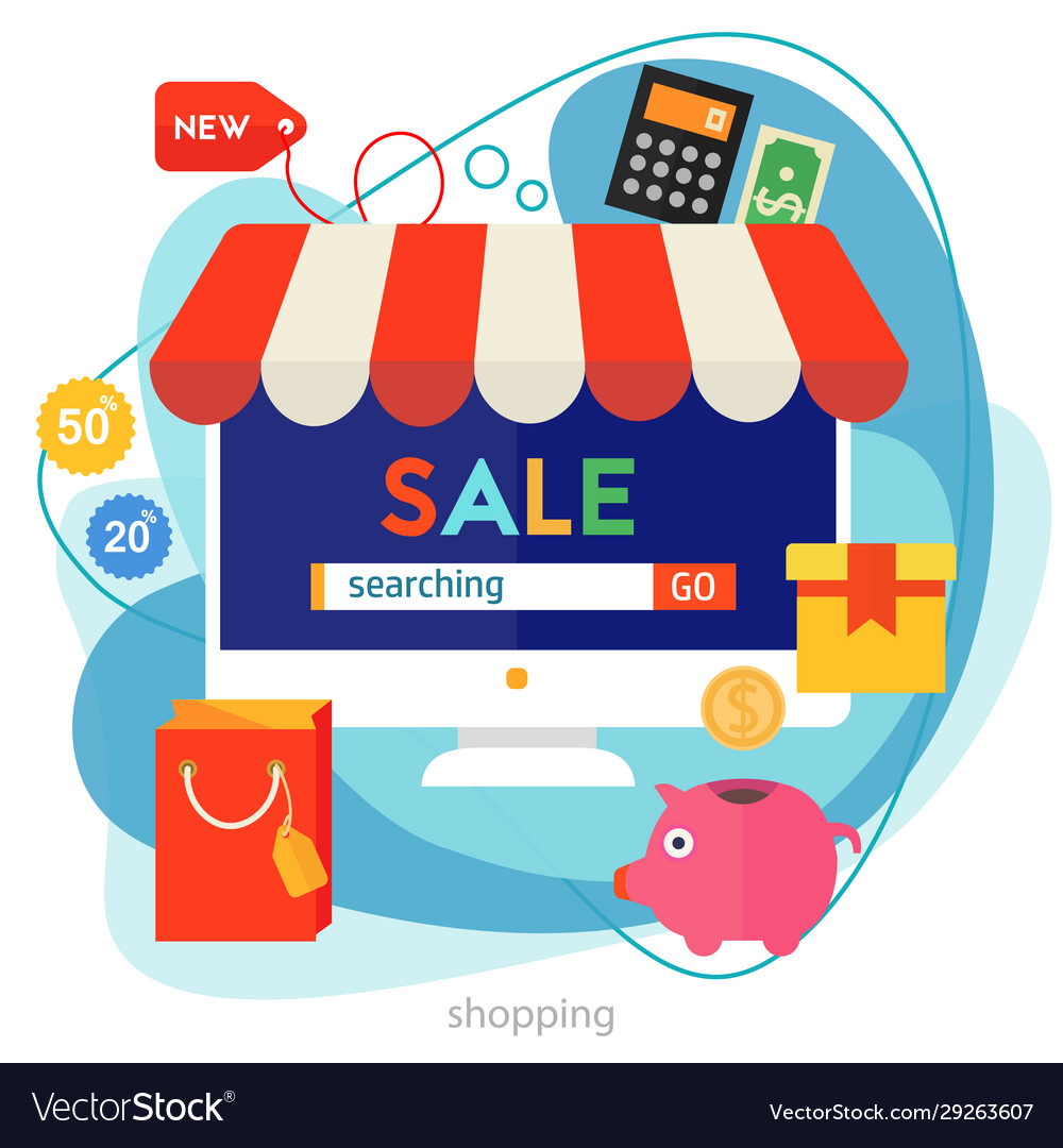 Shopping concept banner square trendy