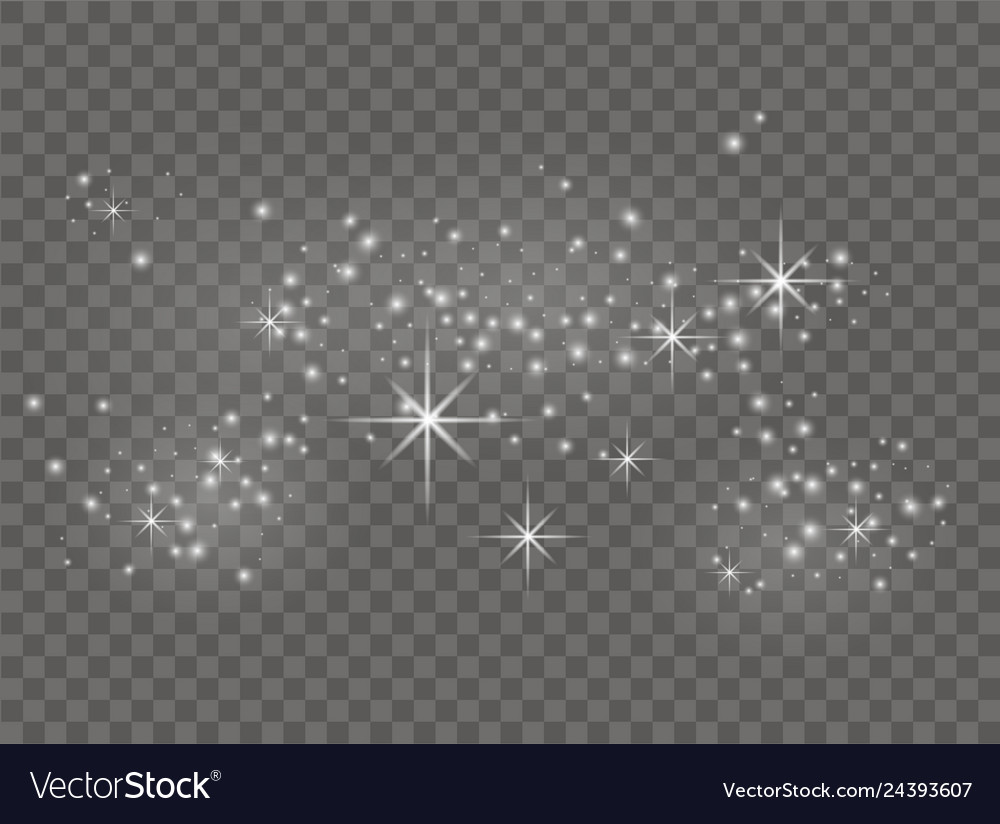 White sparks and stars shine with light dust