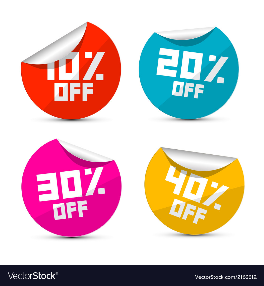 10 off 20 off 30 off 40 off stickers labels vector image