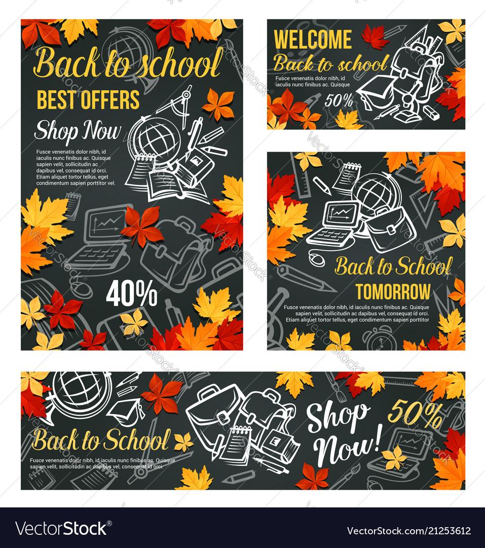 Back to school sale blackboard poster