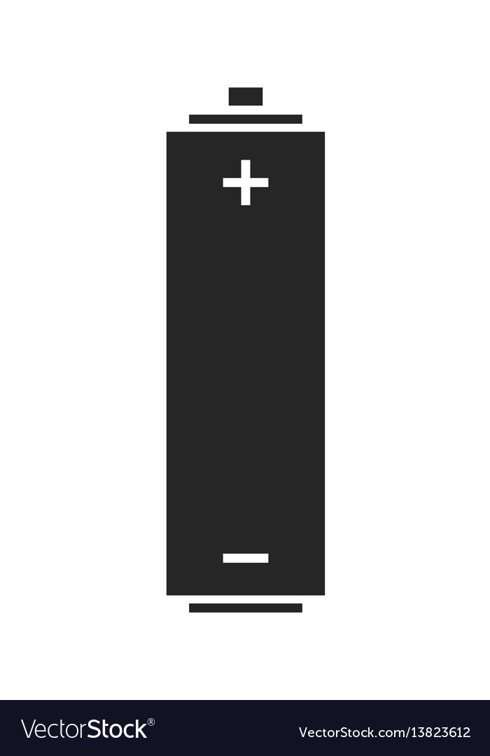 Battery source of energy flat icon silhouette vector image