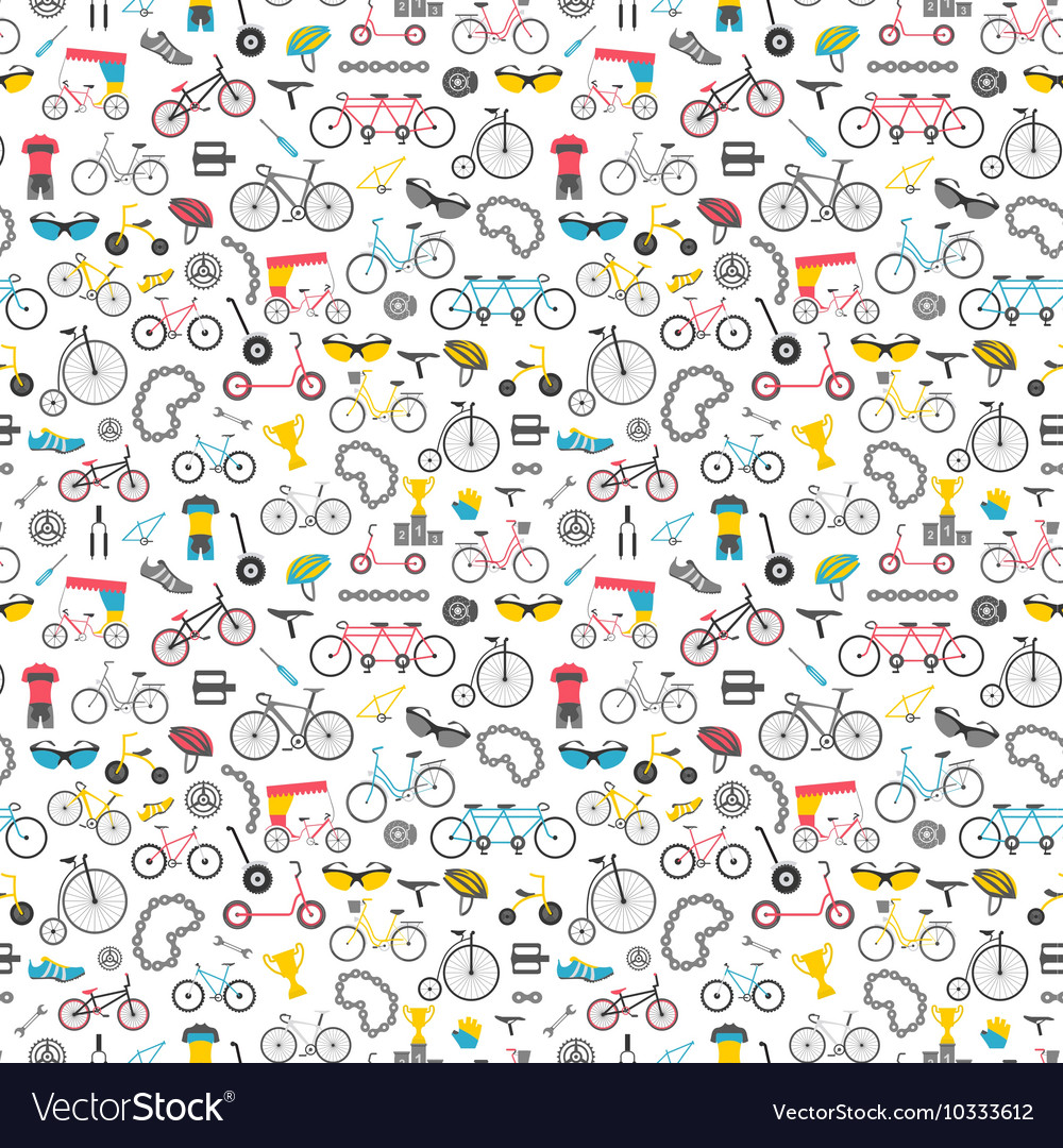 Bicycle seamless pattern Colour flat design