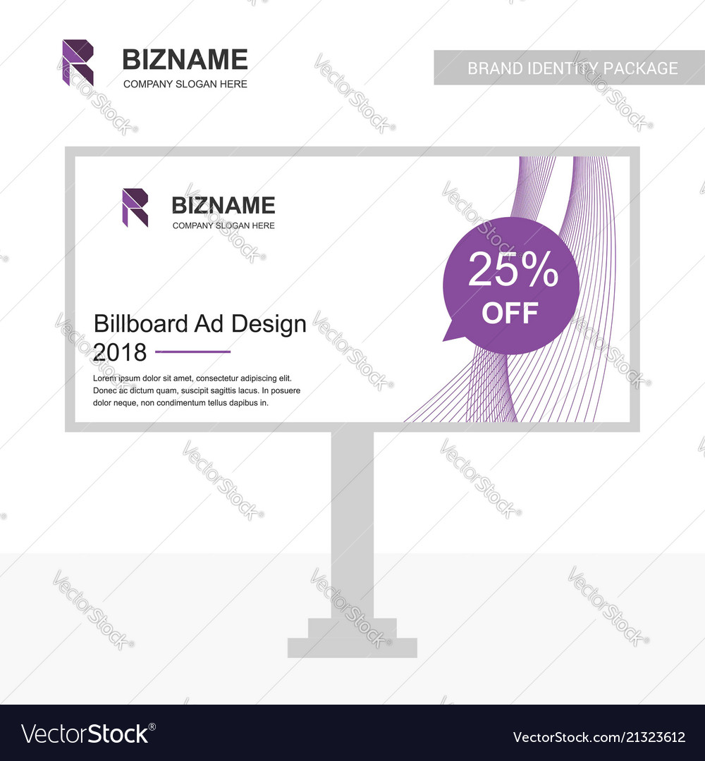 Billboared ad design with company with r logo and