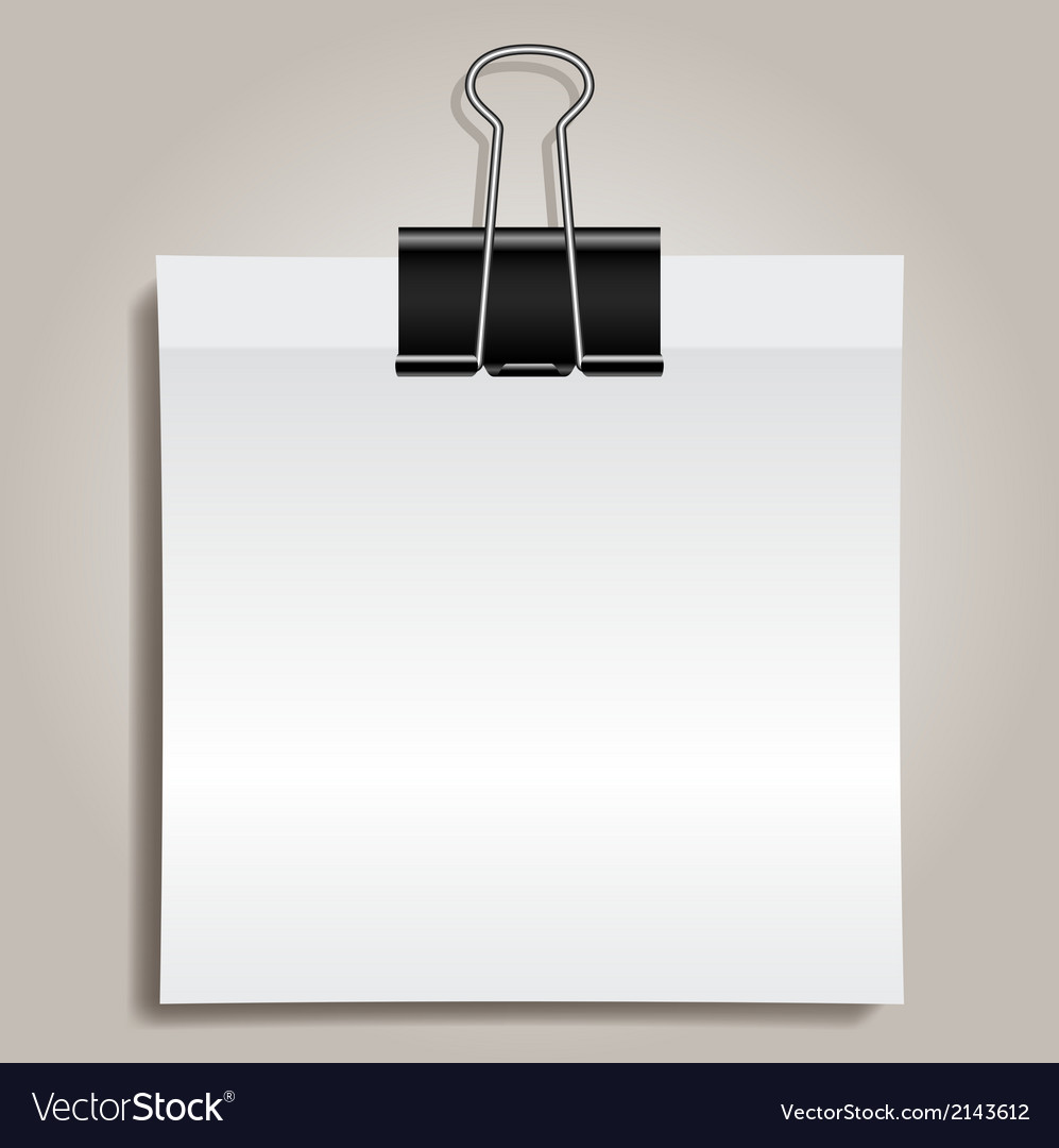 binder clip and paper royalty free vector image