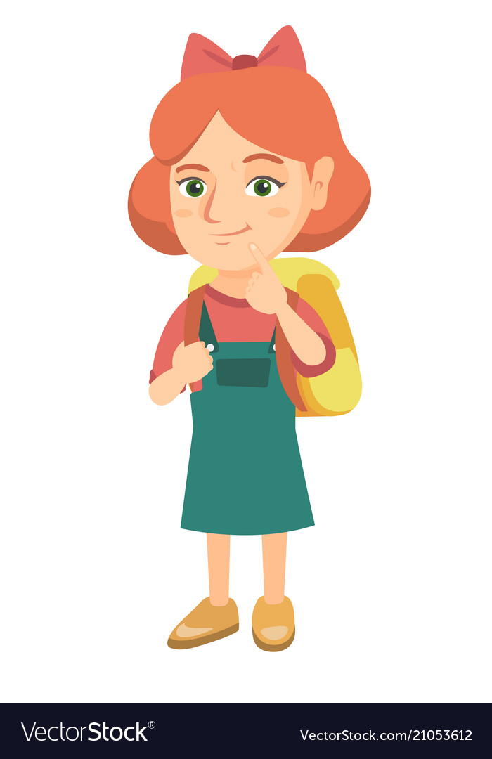 Caucasian little girl with school bag thinking
