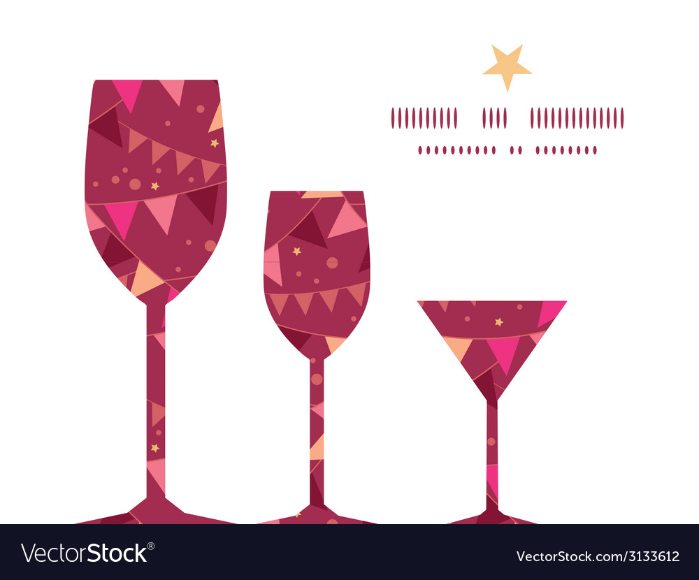 Christmas Decorations Flags Three Wine Glasses