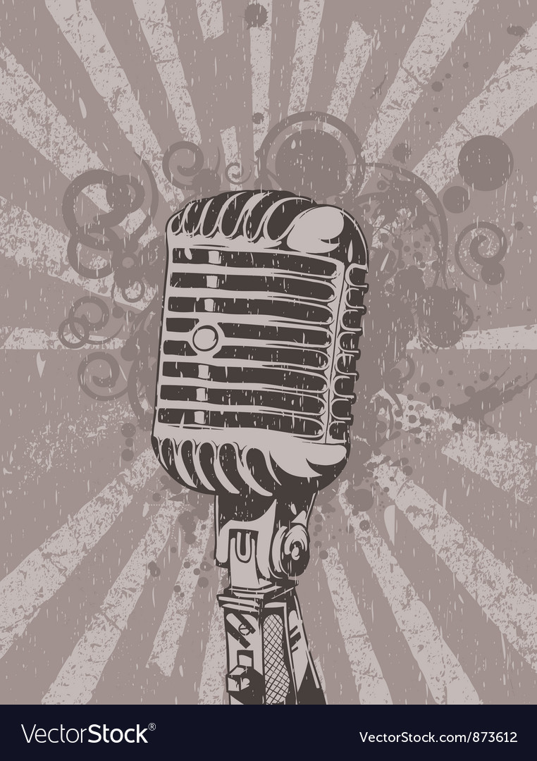 Concert wallpaper with microphone vector image