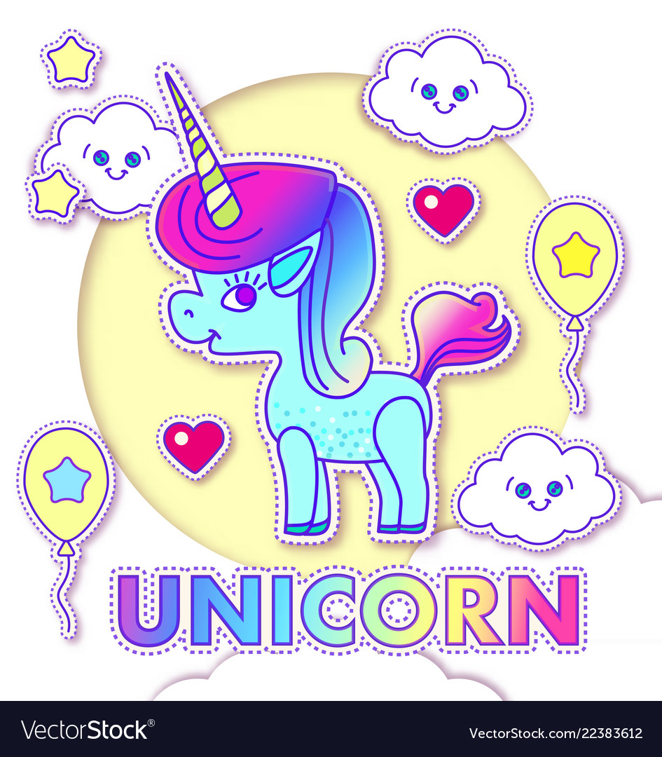 Cute greeting cards with magic unicorn