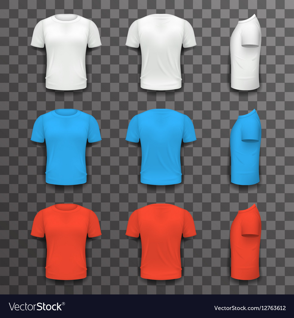 Different Colors T-shirt Front Side Back View