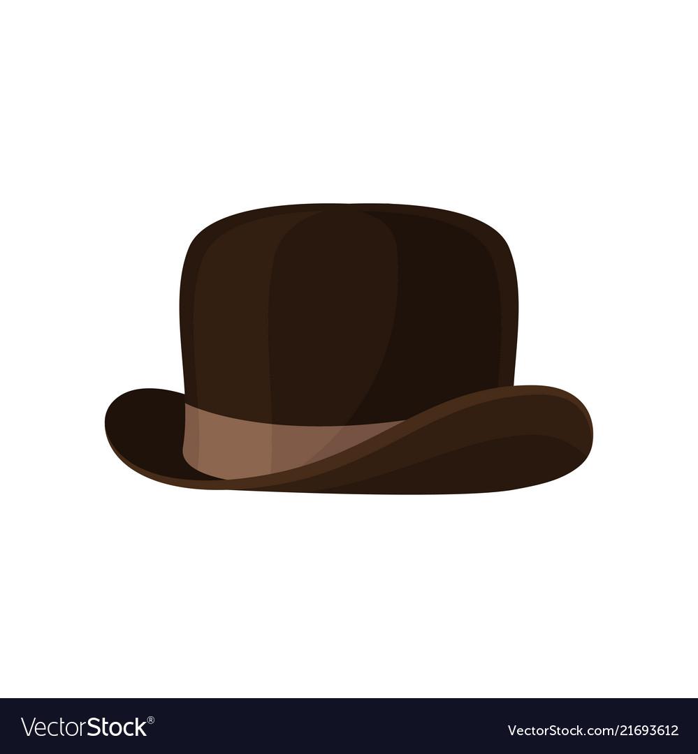 Elegant brown bowler hat vintage male headwear