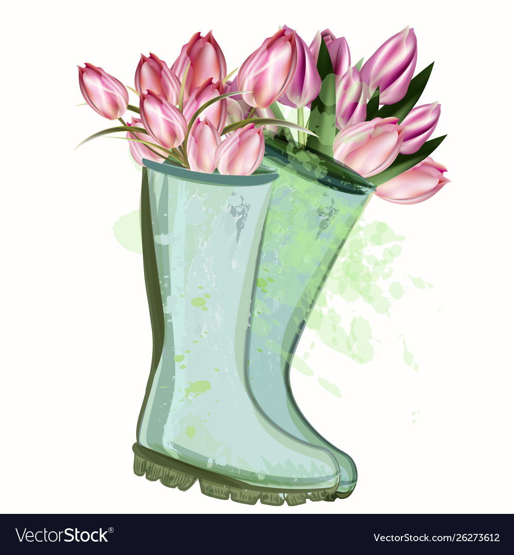 Fashion spring with green rubber boots and tulips