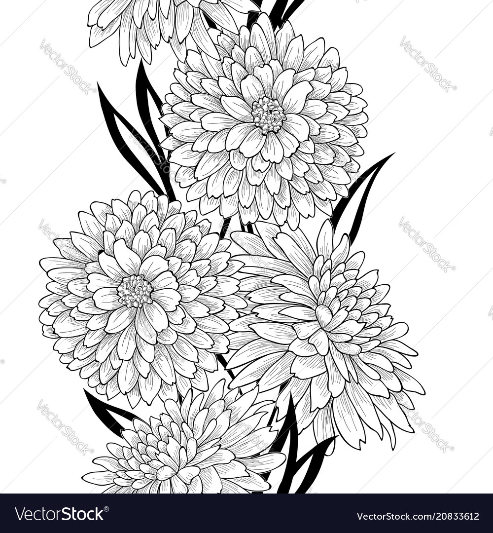 Floral tile pattern flower chrysanthemum line art