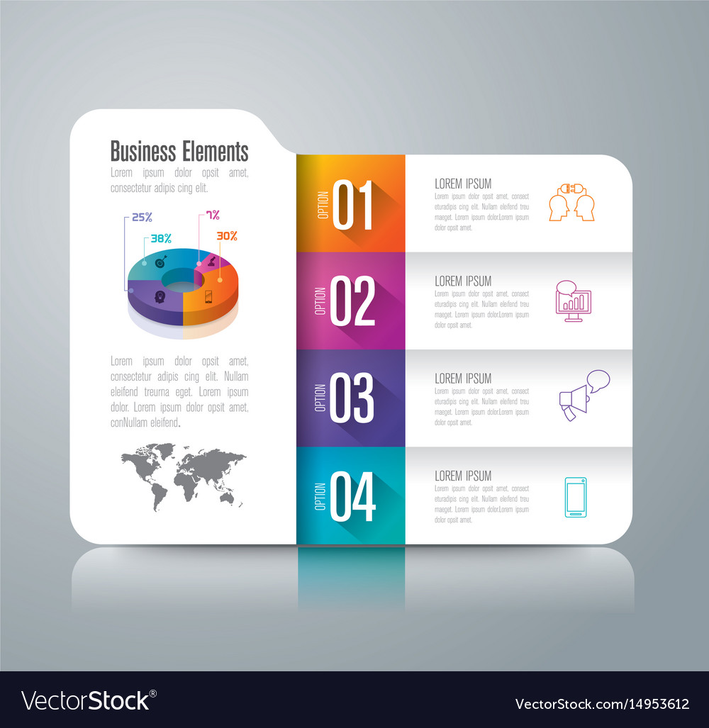 Folder infographics design with 4 options