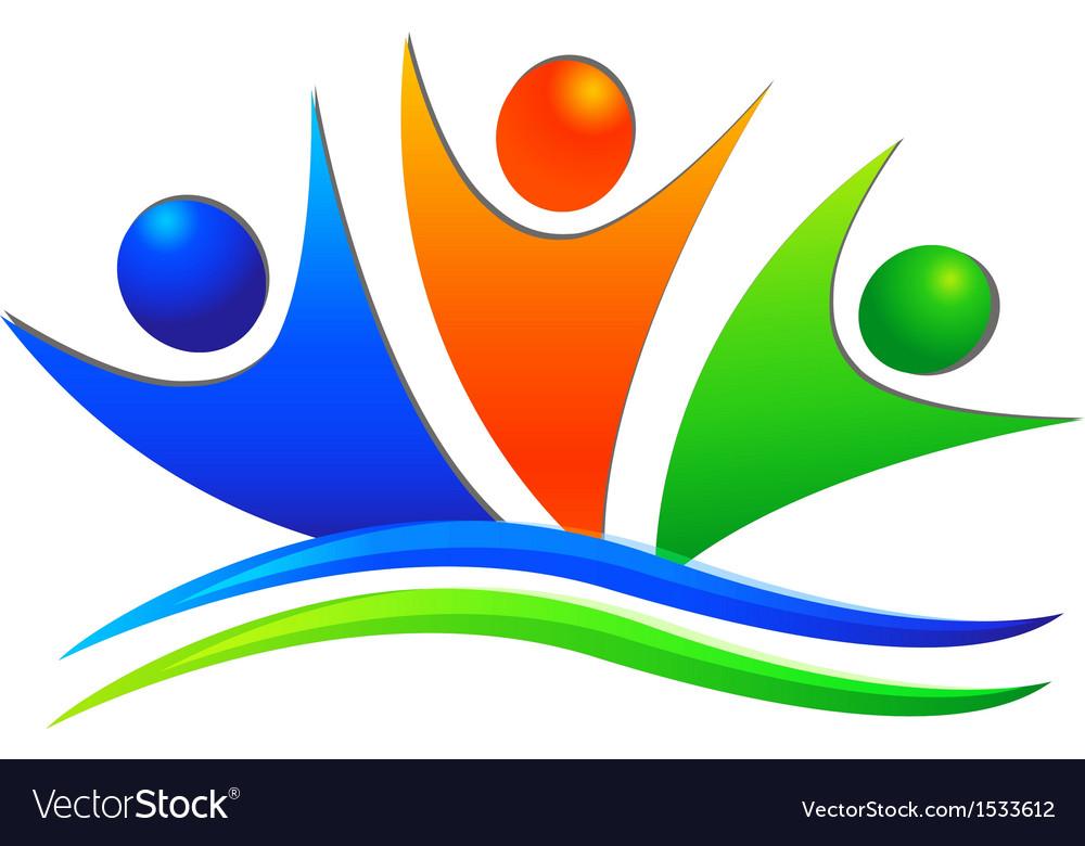 Happy swooshes team logo