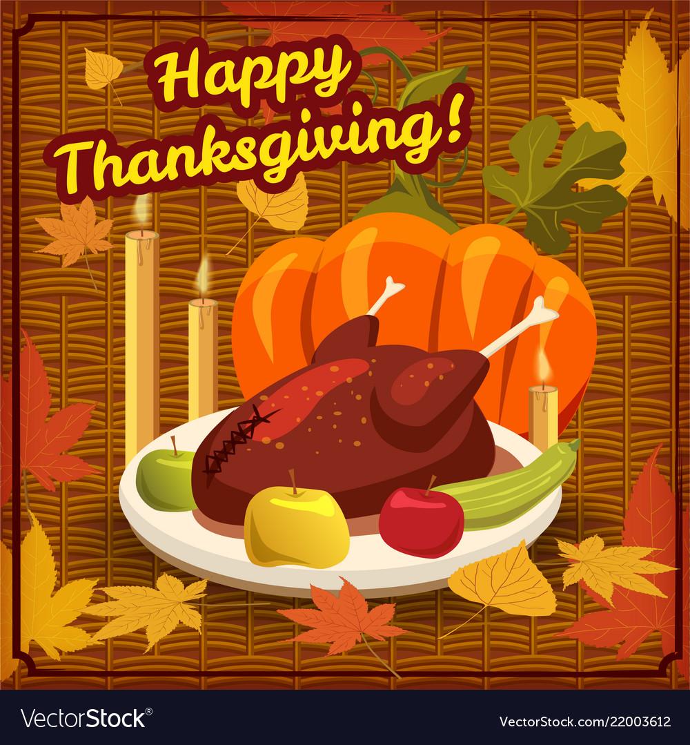 Happy thanksgiving card festive dinner turkey