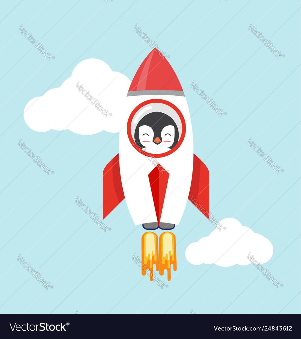 Penguin with a rocket flat design