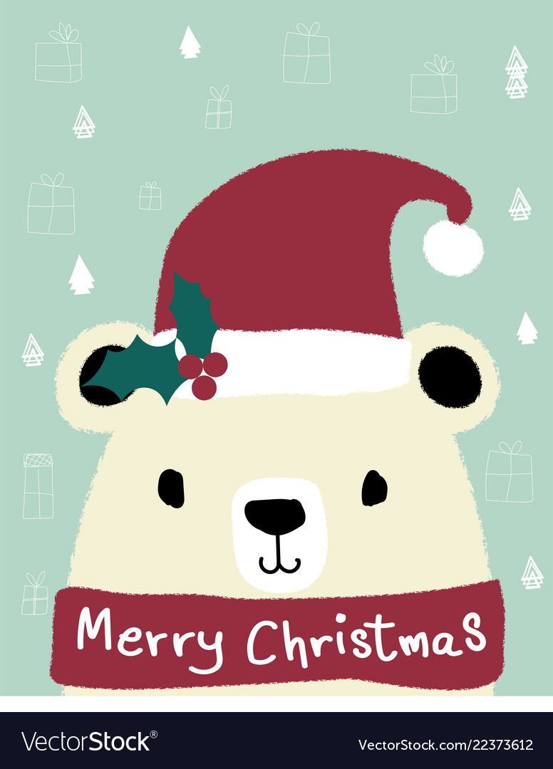 White teddy bear wears red santa clause hat merry