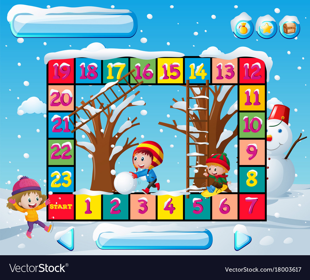 Boardgame template with kids in winter
