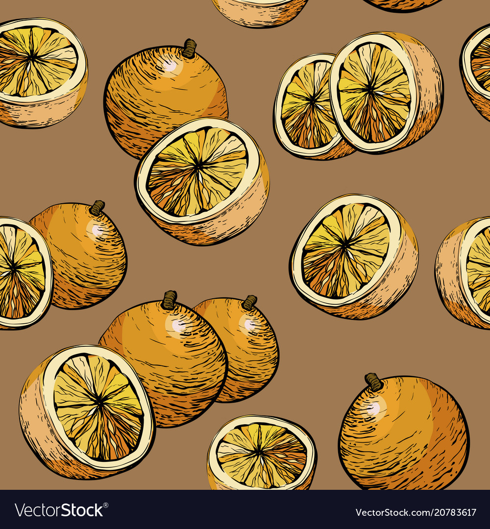Citrus seamless pattern with oranges