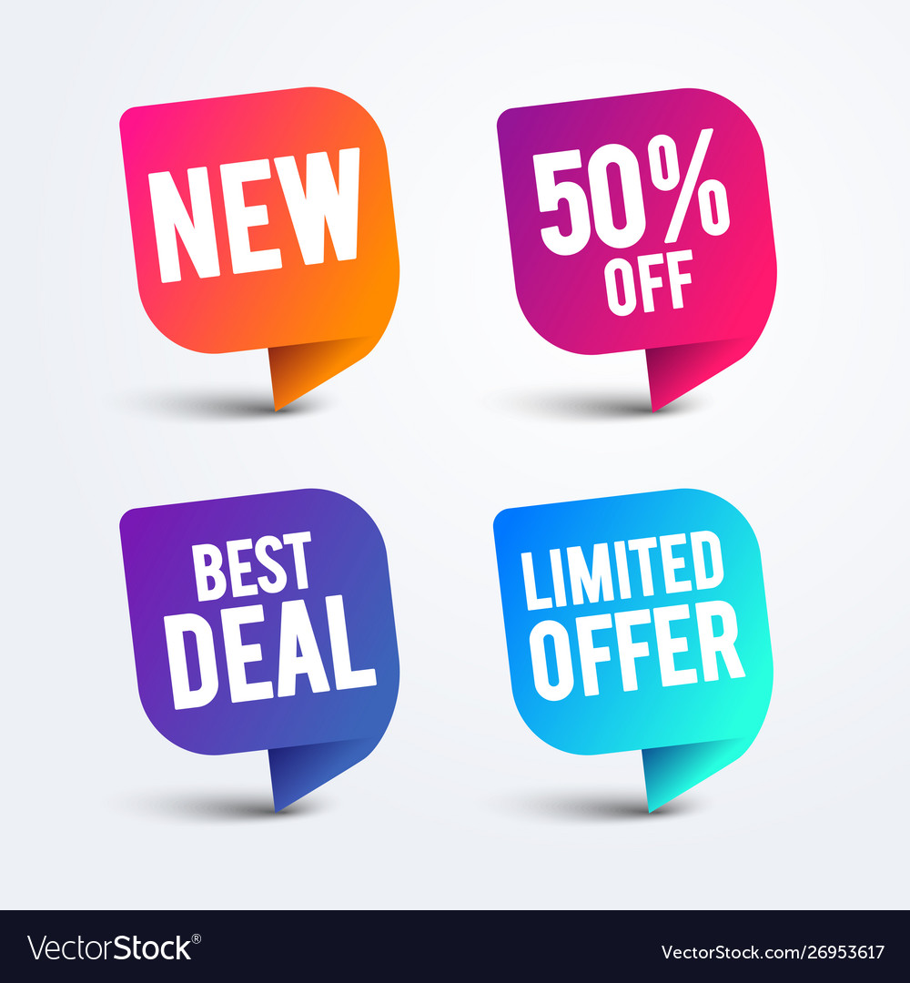Colorful speech bubble set for web and sale