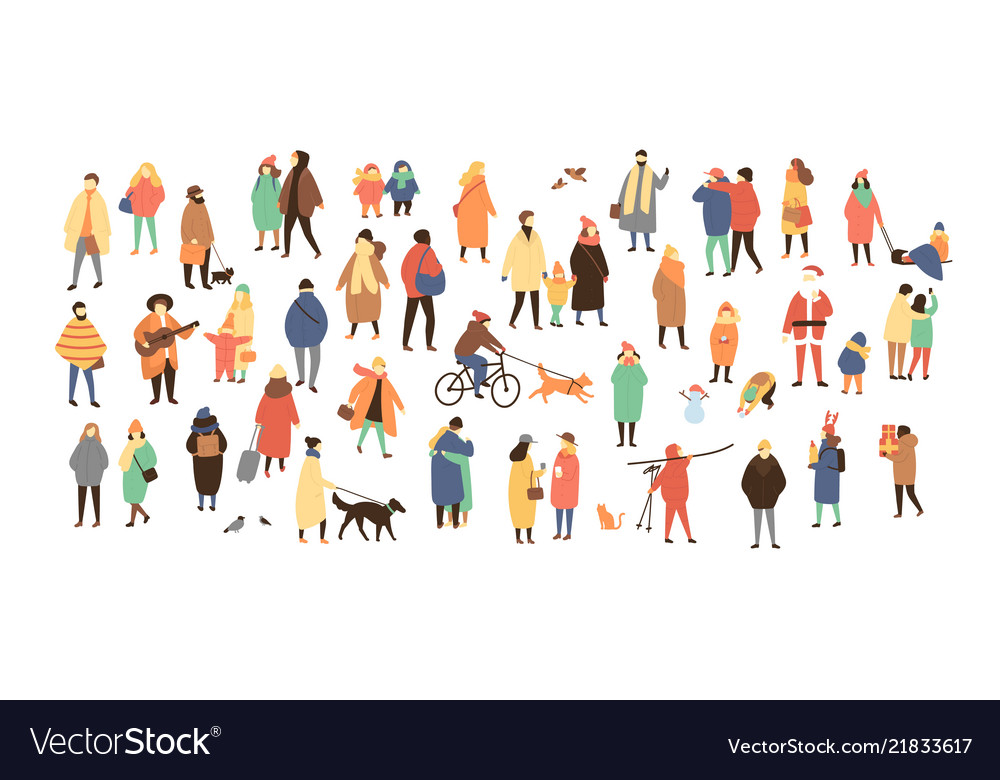 Crowd of tiny people dressed in winter clothes or