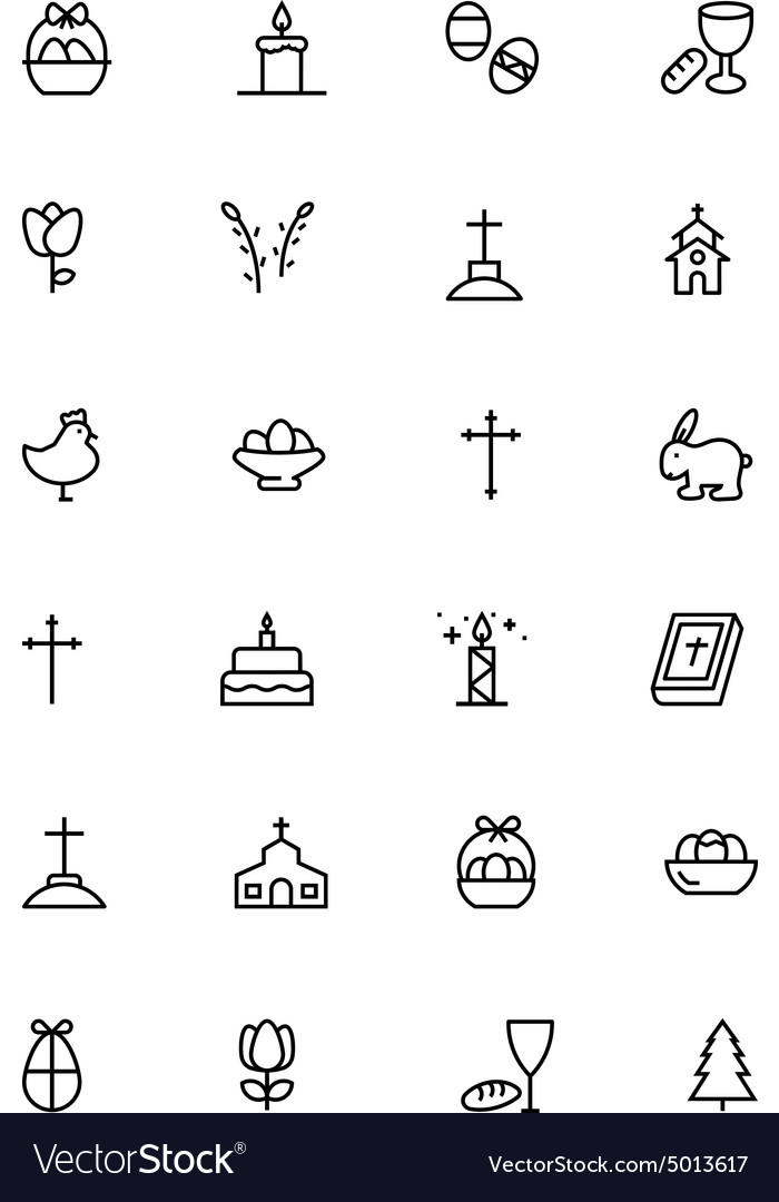 Easter line icons 3 vector