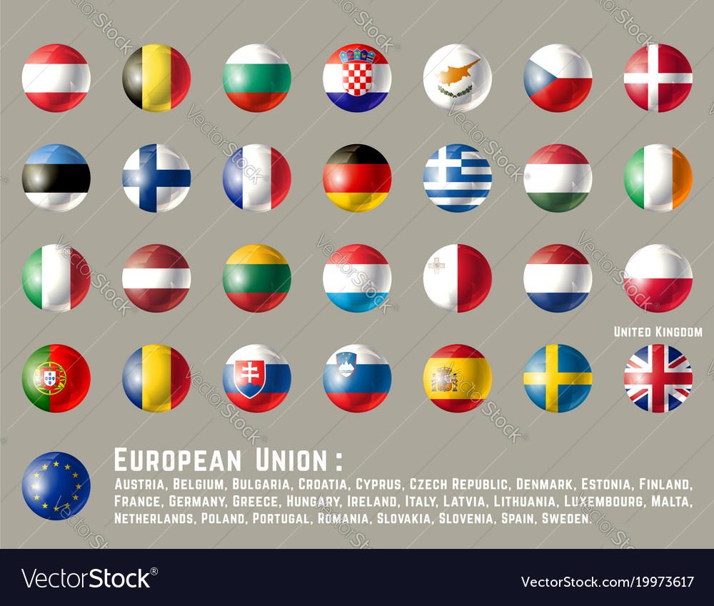 European union round flags