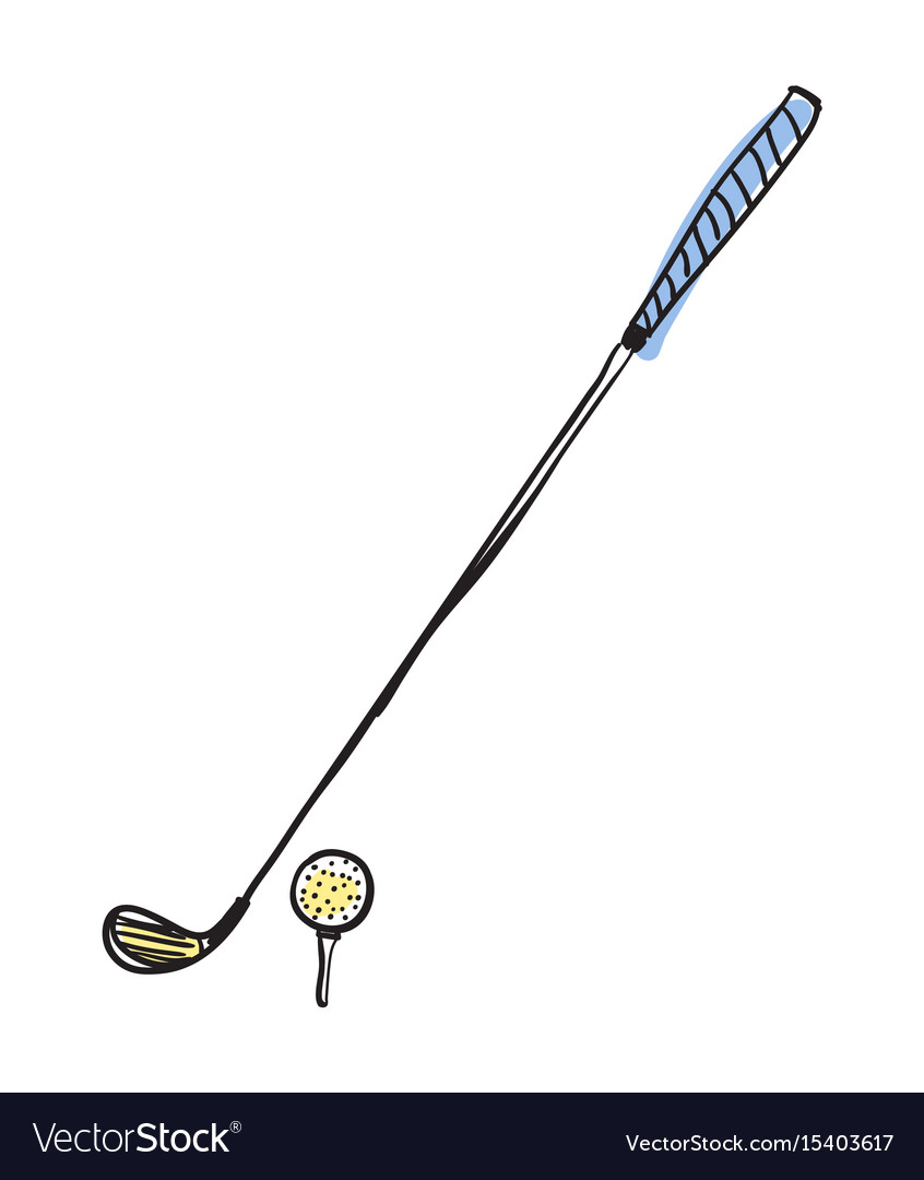 Golf club and ball hand drawn isolated icon