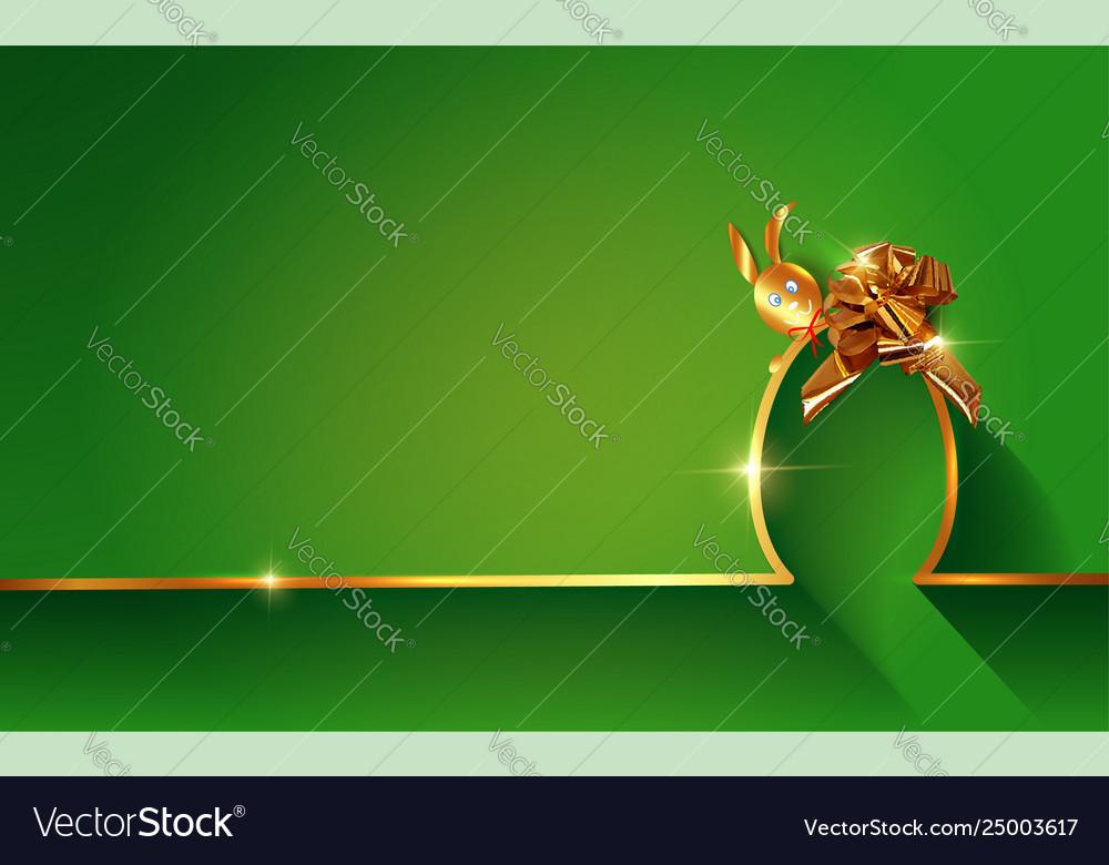 Happy easter golden skyline rabbit and egg ribbon
