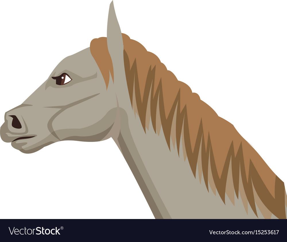 Horse cartoon farm mammal animal icon vector image