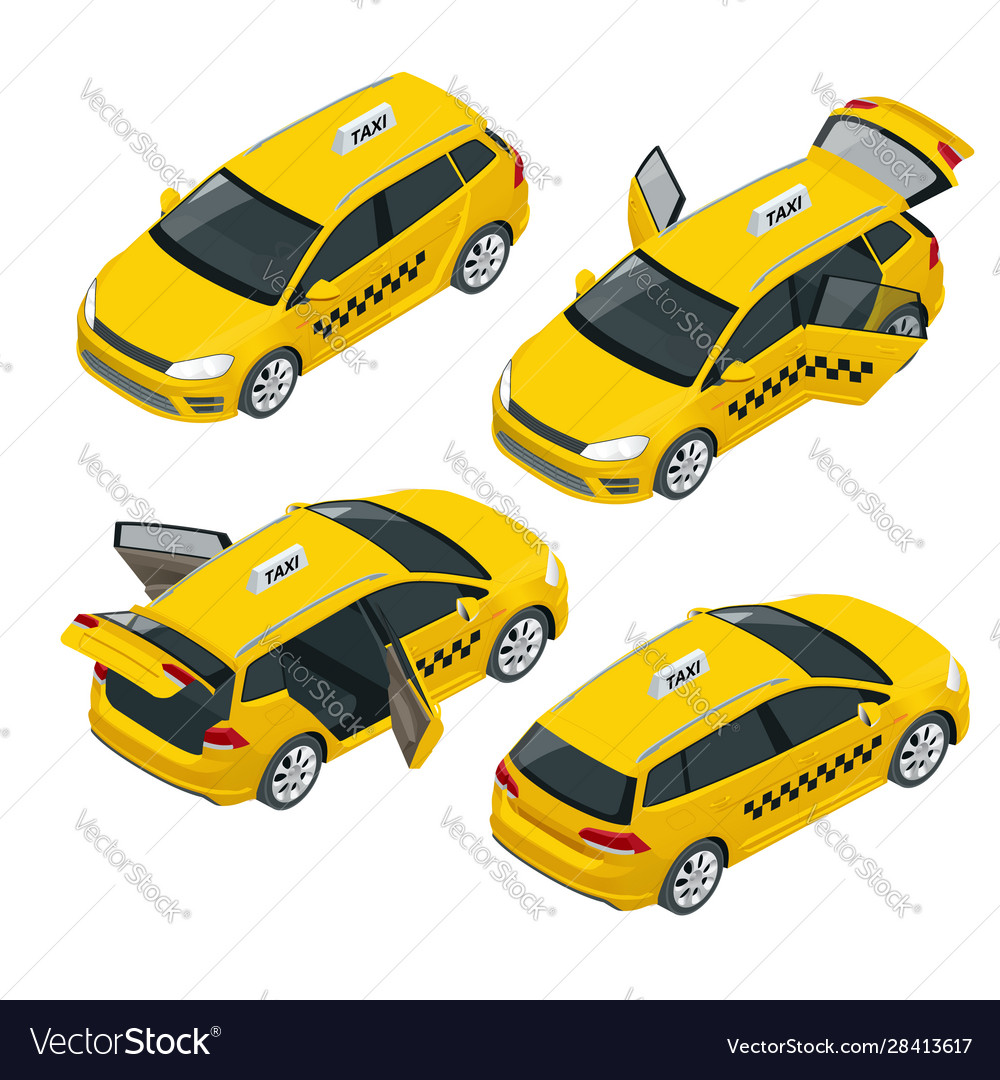 Isometric yellow taxi car with open and closed