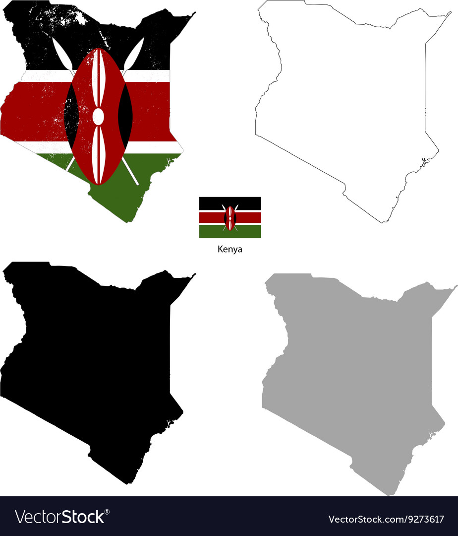Kenya country black silhouette and with flag