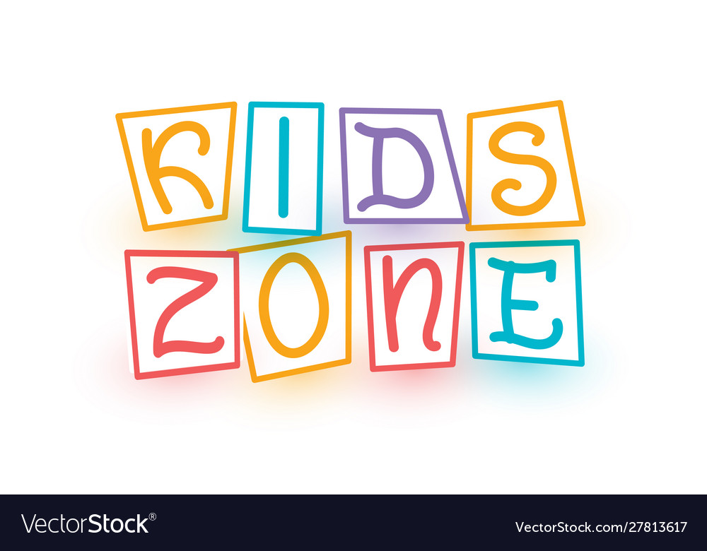 Kids zone logo template cartoon colorful letters