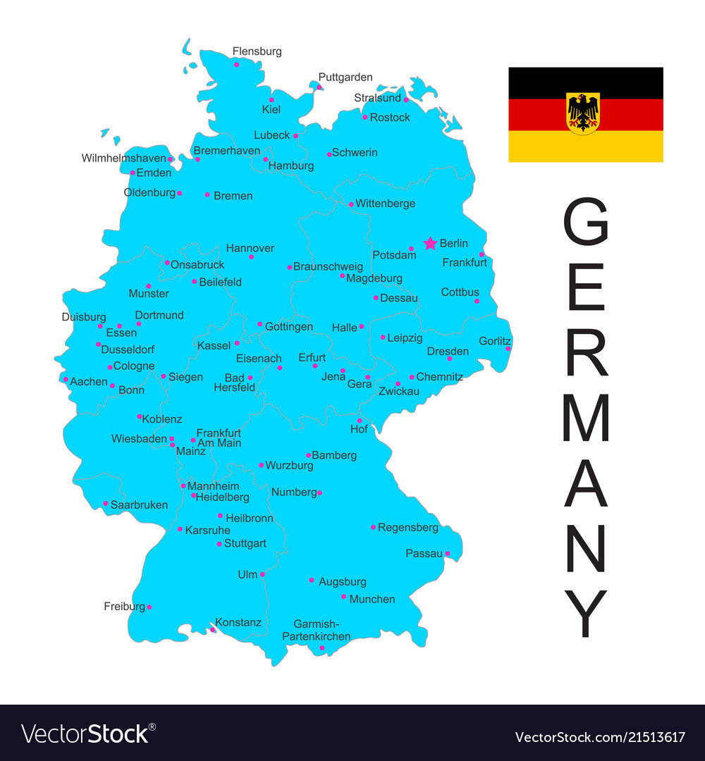 Map of germany with flag on white