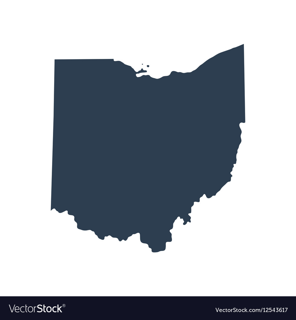 Map of the US state Ohio Royalty Free Vector Image