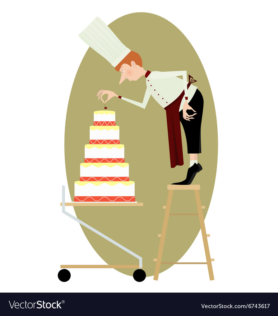 Pastry chef and a great multi-storey cake vector image
