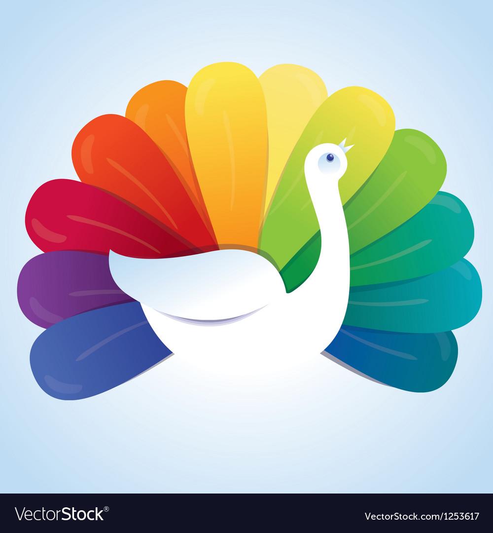 Peackok bird with rainbow feathers
