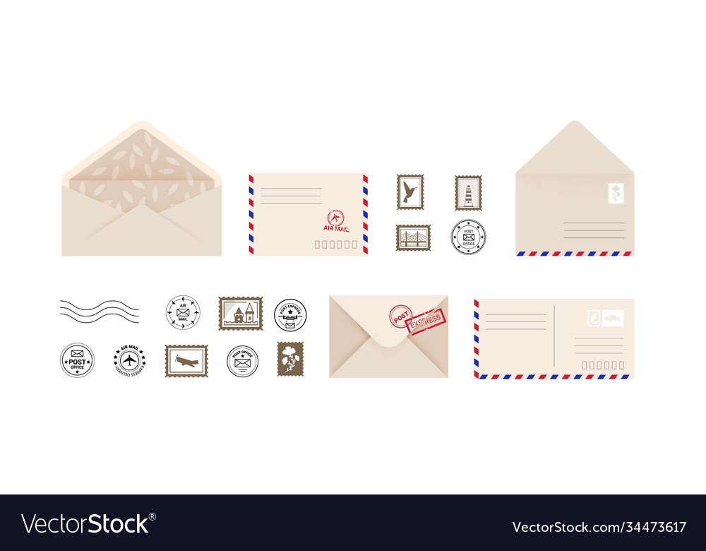 Post card and envelope collection open and close