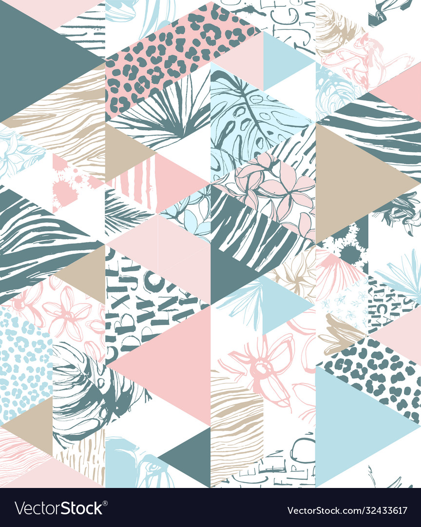 Seamless triangle pattern tropical birds palms