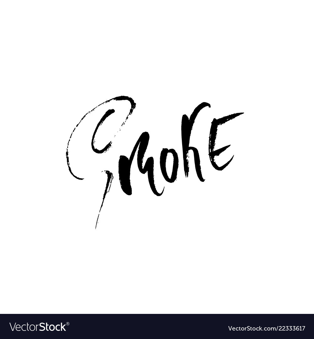 Smoke hand drawn dry brush lettering ink