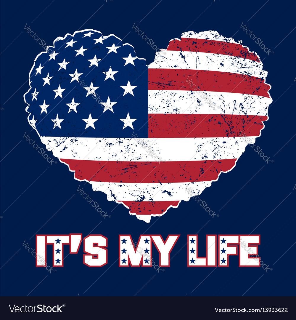 American flag heart grunge