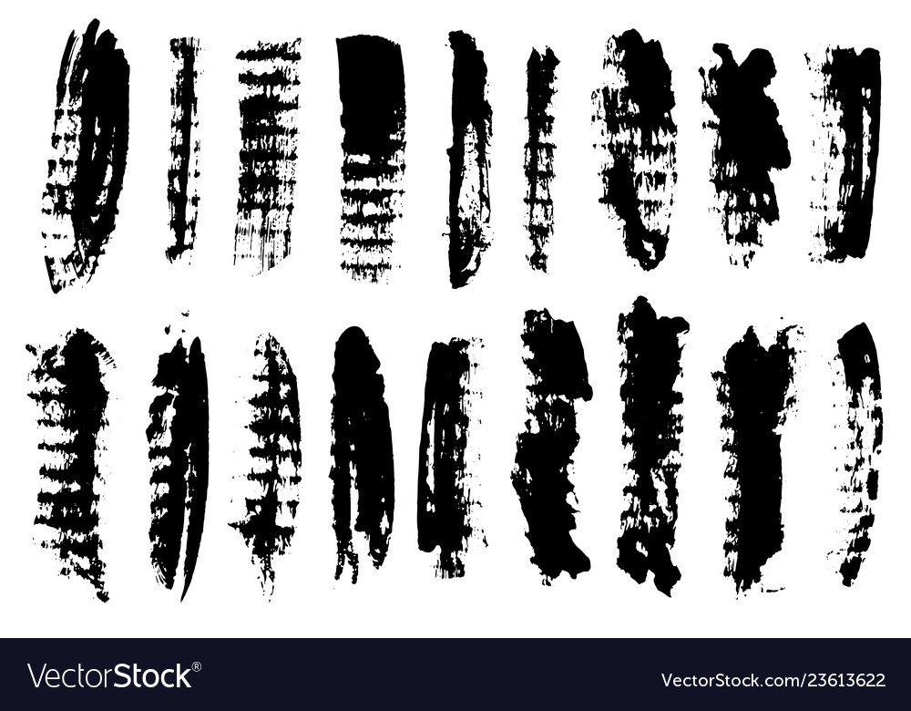 Black ink grunge brush set strokes on white
