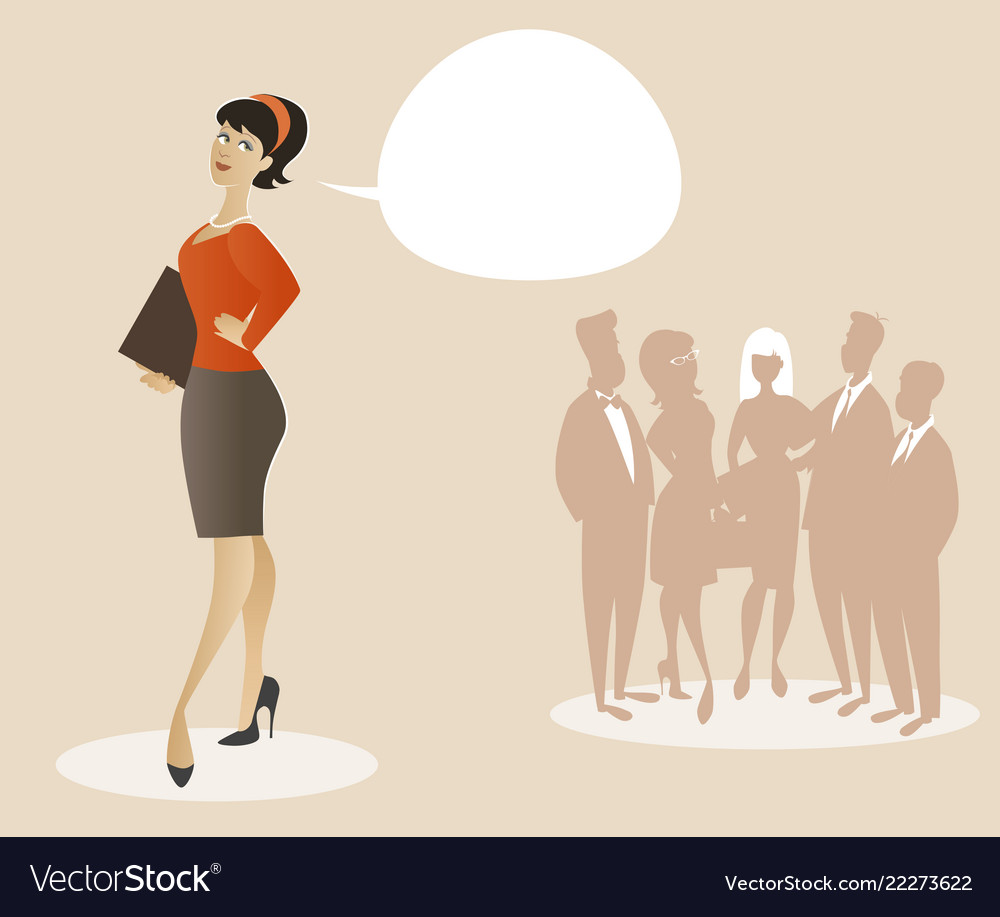Business woman dressed in 50s or 60s clothes
