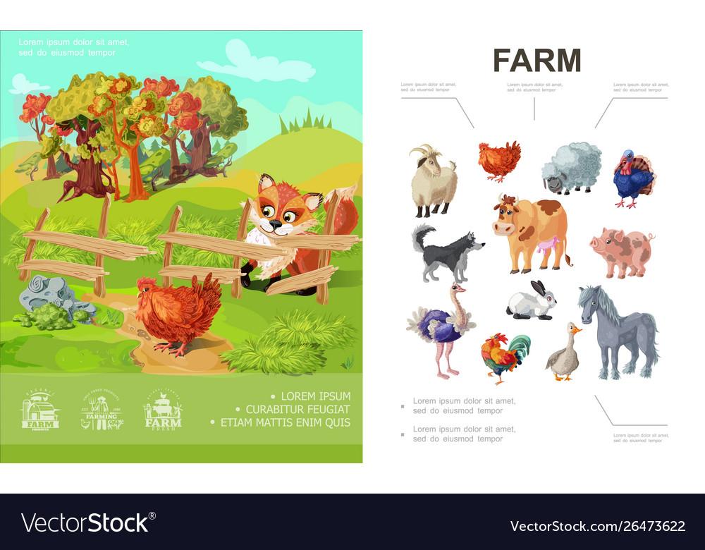 Cartoon farm colorful concept